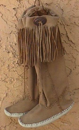 Fringed leather moccasins